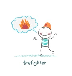 firefighter thinks about fire vector image