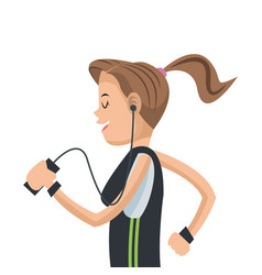 Girl sport running mobile headphone social media vector