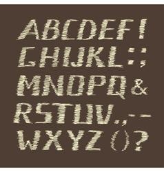 Handwritten Chalk Alphabet on Brown Background vector image vector image