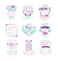 happy moms day hand drawn label vector image