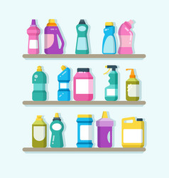 Household cleaner products and laundry goods on vector