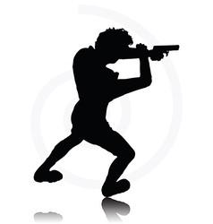 man with agun vector image