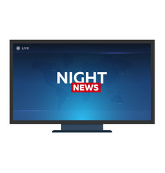 Mass media night news banner live tv show vector