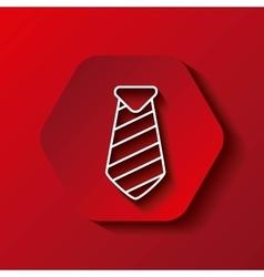 necktie icon Male cloth design over hexagon vector image