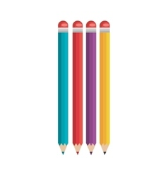 Pencils colors school supply isolated icon vector