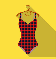 plaid swimsuit in red and underwear for swimming vector image