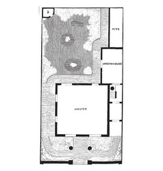 Plan of detached villa and garden semi-detached vector