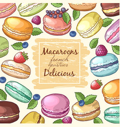 poster with colored of macaroons vector image vector image