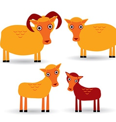 Ram ewe and lamb set of funny animals with cubs on vector
