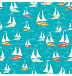 Retro seamless travel pattern of yacht vector
