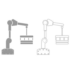 Robotic hand manipulator grey set icon vector