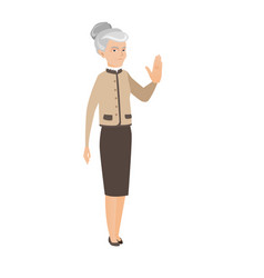 Senior caucasian business woman showing palm hand vector