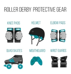 Set of flat roller derby protective gear vector