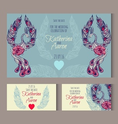 Set of invitation wedding cards with swans vector image vector image