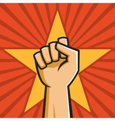 soviet raised fist vector image vector image