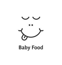 Thin line baby food logo vector