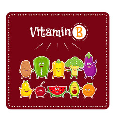 Vitamin b vegetables and fruits healthy food vector