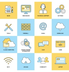 Web Flat Line Icons vector image