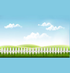 White fence in nature summer background vector image