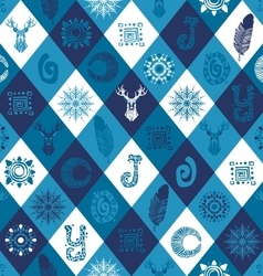 Winter seamless pattern with hand drawn elements vector