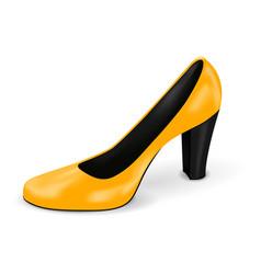 Yellow high heel woman shoe vector
