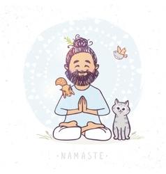 Yoga man and animals vector