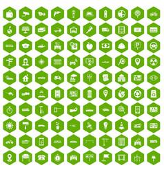 100 car icons hexagon green vector
