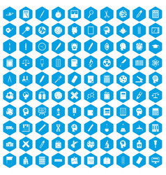 100 learning icons set blue vector