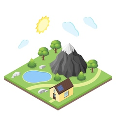 Isometric 3d of house in the mountains vector image