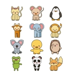 Set animals cute tender isolated icon vector