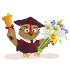 Owl teacher holding bouquet of flowers School vector image