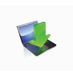 Laptop with download button vector image