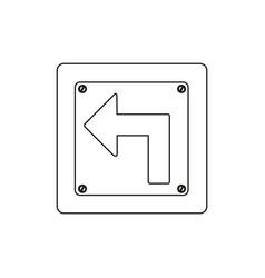 Silhouette metallic square frame turn left traffic vector
