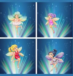 Cute fairies flying at night vector