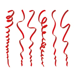 Set of red ribbons design vector