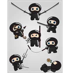 Collection of cute cartoon ninja warriors with vector