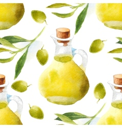 Watercolor olive oil pattern vector