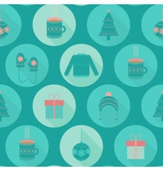 Festive flat christmas and new year seamless vector