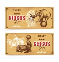 Vintage circus show ticket set hand drawn sketch vector