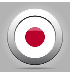 Metal button with flag of japan vector