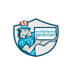 Vote democrat donkey mascot shield cartoon vector