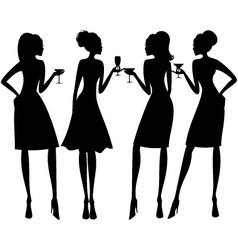 cocktail party silhouettes vector image