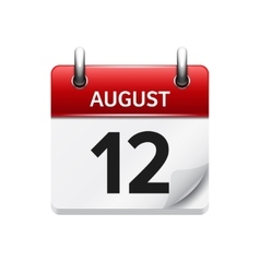 August 12 flat daily calendar icon date vector
