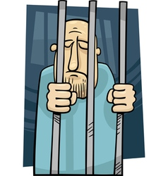 Cartoon of jailed man vector