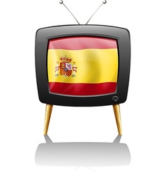 A TV with the flag of Spain vector image vector image
