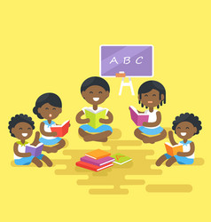 african children read books isolated vector image vector image