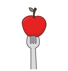 Apple fruit fork vector