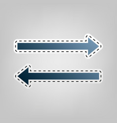 Arrow simple sign blue icon with outline vector