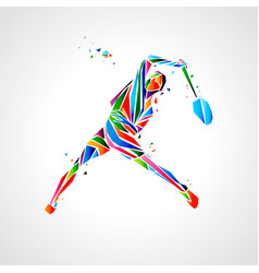 Badminton player abstract eps vector