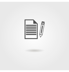 black sheet of paper and pencil icon vector image vector image